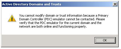 PDC Emulator external trust